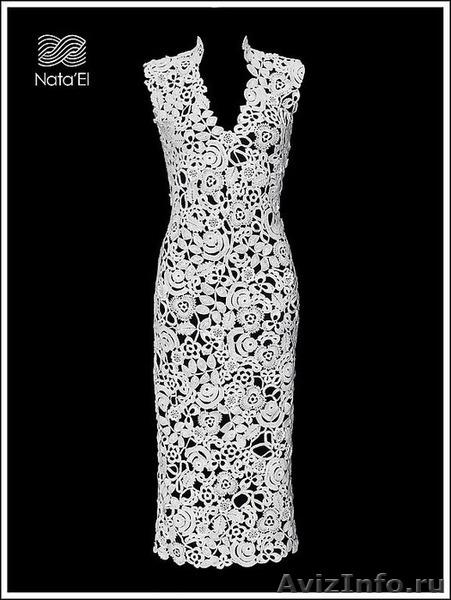 Платье свадебное с кружевом крючком